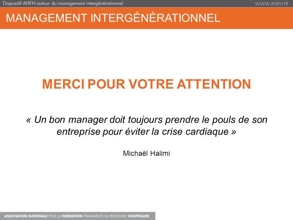 MANAGEMENT INTERGÉNÉRATIONNEL MERCI POUR VOTRE ATTENTION « Un bon manager doit toujours prendre le pouls de son entreprise pour éviter la crise cardia