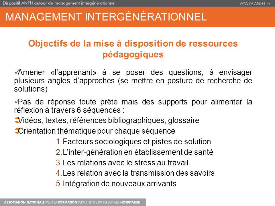 MANAGEMENT INTERGÉNÉRATIONNEL Objectifs de la mise à disposition de ressources pédagogiques Amener «lapprenant» à se poser des questions, à envisager