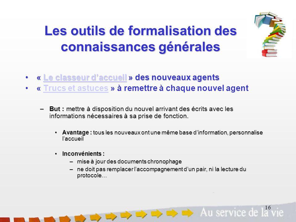 16 Les outils de formalisation des connaissances générales « Le classeur daccueil » des nouveaux agents« Le classeur daccueil » des nouveaux agentsLe