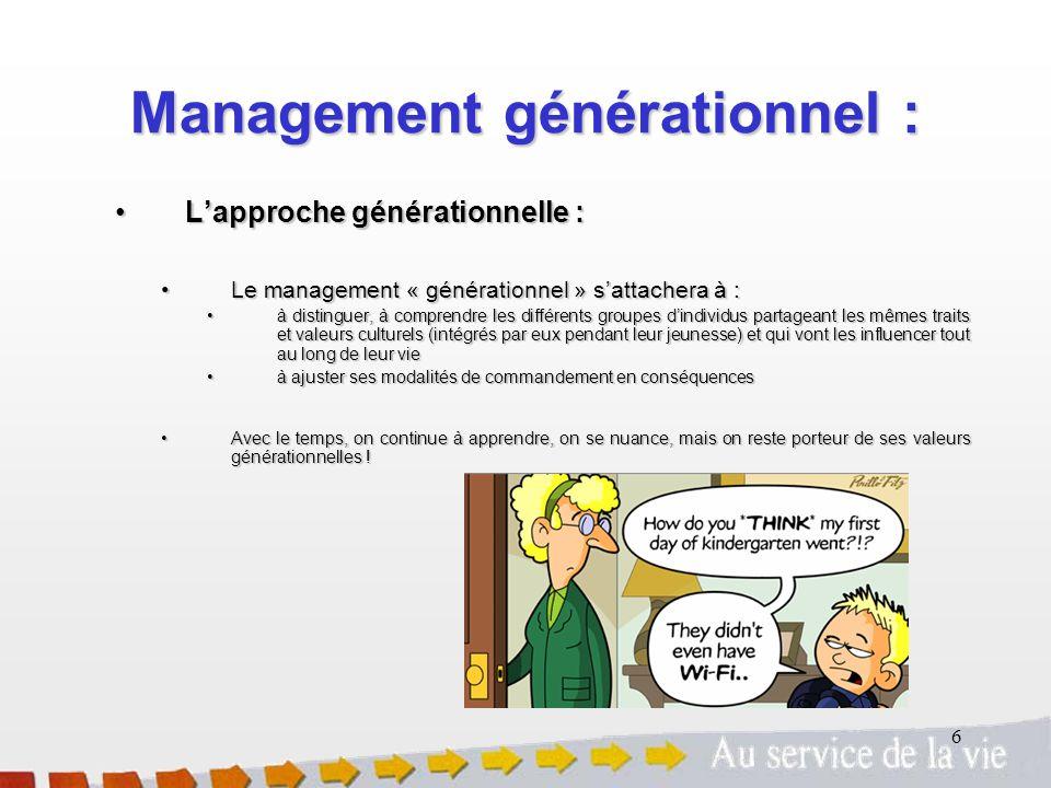 6 Lapproche générationnelle :Lapproche générationnelle : Le management « générationnel » sattachera à :Le management « générationnel » sattachera à :