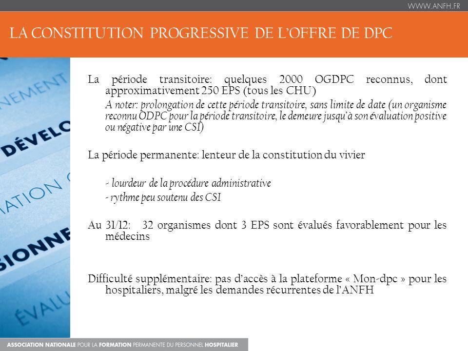 1.De nouveaux adhérents à lANFH pour le DPCM 68 nouveaux EPS adhérents, dont 3 CHU, représentant plus de 5000 médecins (soit 607 adhérents, taux dadhésion total 2014 : 65%) 2.Un budget maintenu Maintien du montant « industrie pharmaceutique » alloué en 2013 (17,2M) 3.Un accompagnement à poursuivre - Méthodologie des plans de DPC - Formation des agents des DAM -Groupes de travail régionaux… LES PERSPECTIVES 2014 (1)