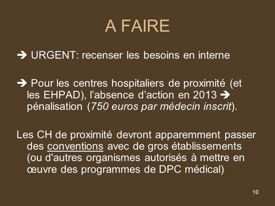 10 A FAIRE URGENT: recenser les besoins en interne Pour les centres hospitaliers de proximité (et les EHPAD), labsence daction en 2013 pénalisation (750 euros par médecin inscrit).