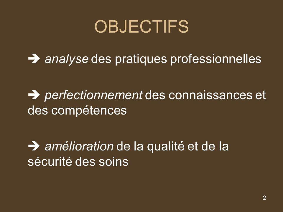 2 OBJECTIFS analyse des pratiques professionnelles perfectionnement des connaissances et des compétences amélioration de la qualité et de la sécurité des soins