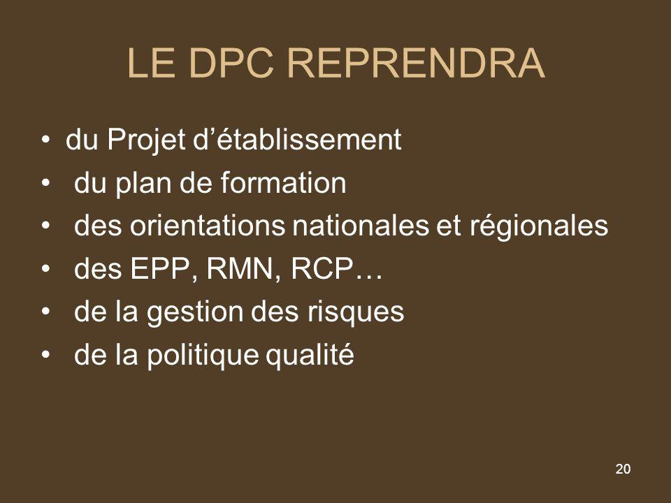 20 LE DPC REPRENDRA du Projet détablissement du plan de formation des orientations nationales et régionales des EPP, RMN, RCP… de la gestion des risques de la politique qualité