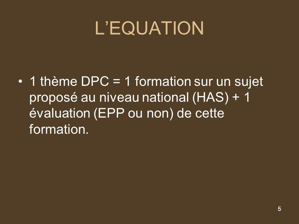 5 LEQUATION 1 thème DPC = 1 formation sur un sujet proposé au niveau national (HAS) + 1 évaluation (EPP ou non) de cette formation.