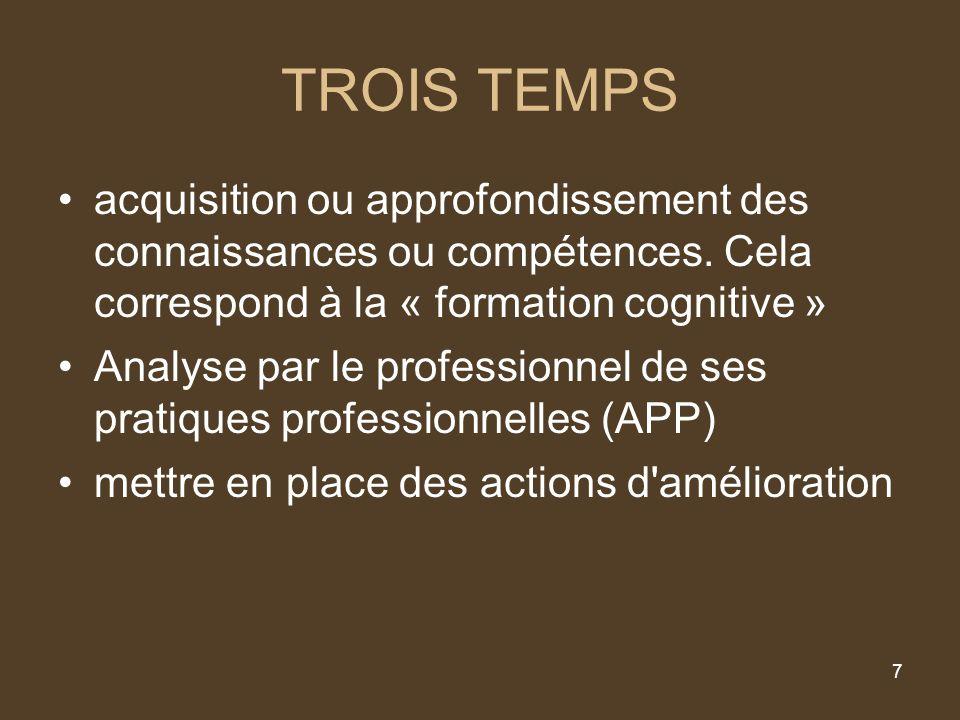 7 TROIS TEMPS acquisition ou approfondissement des connaissances ou compétences.