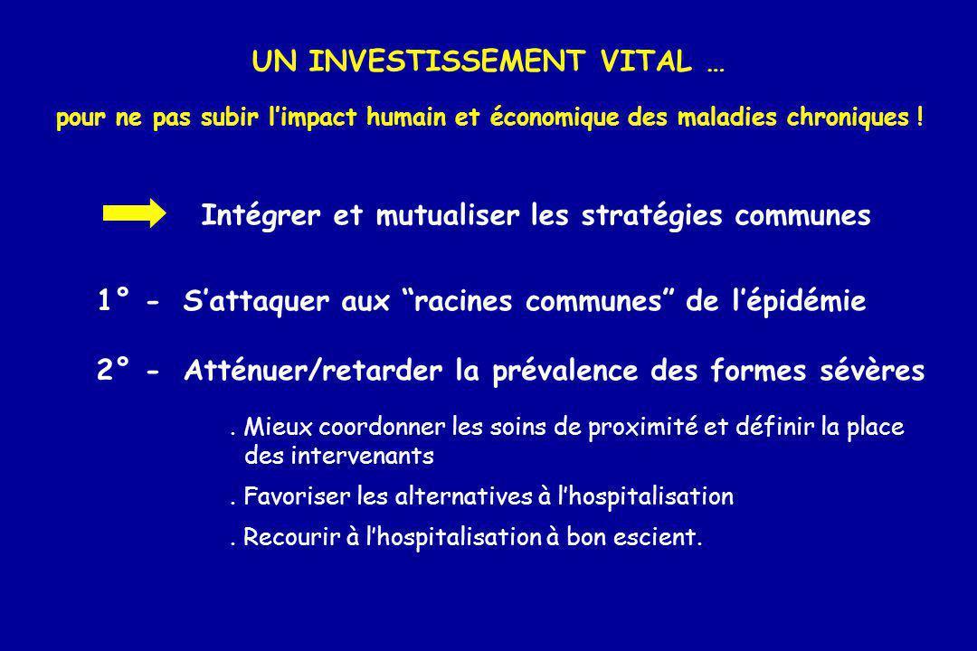 UN INVESTISSEMENT VITAL … pour ne pas subir limpact humain et économique des maladies chroniques ! Intégrer et mutualiser les stratégies communes 1° -