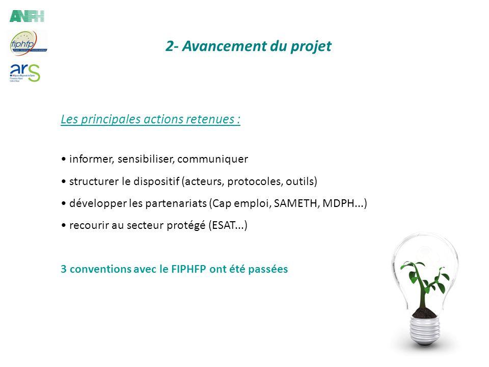 2- Avancement du projet Les principales actions retenues : informer, sensibiliser, communiquer structurer le dispositif (acteurs, protocoles, outils)