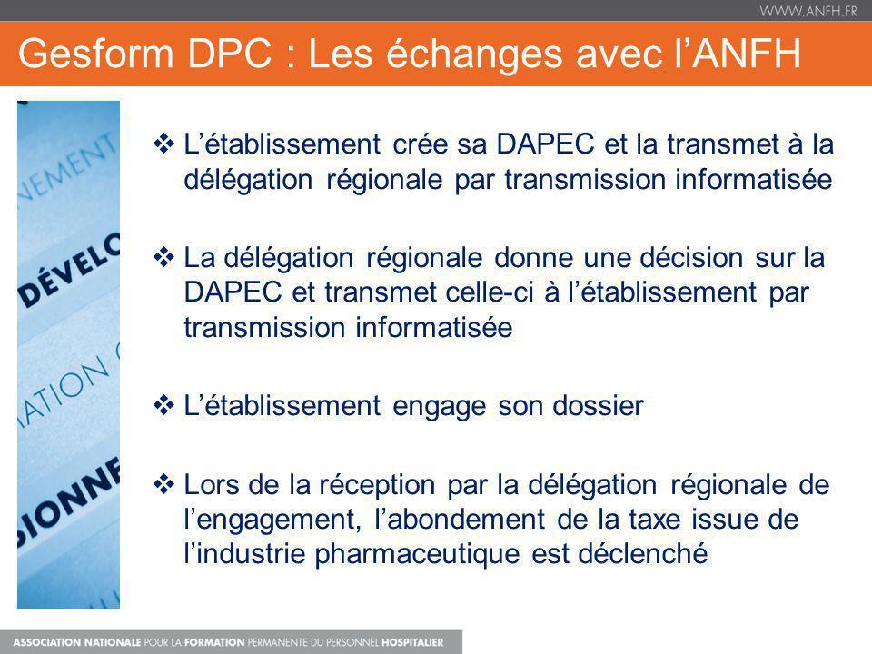 Gesform DPC : Les échanges avec lANFH Létablissement crée sa DAPEC et la transmet à la délégation régionale par transmission informatisée La délégatio