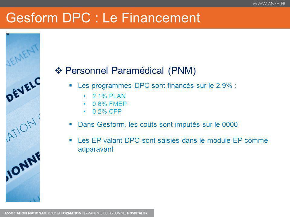 Gesform DPC : Le Financement Personnel Paramédical (PNM) Les programmes DPC sont financés sur le 2.9% : 2.1% PLAN 0.6% FMEP 0.2% CFP Dans Gesform, les