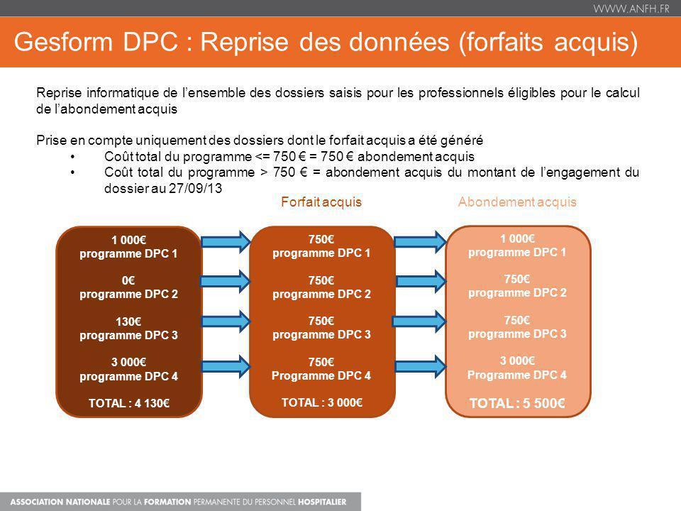 Gesform DPC : Reprise des données (forfaits acquis) Reprise informatique de lensemble des dossiers saisis pour les professionnels éligibles pour le ca
