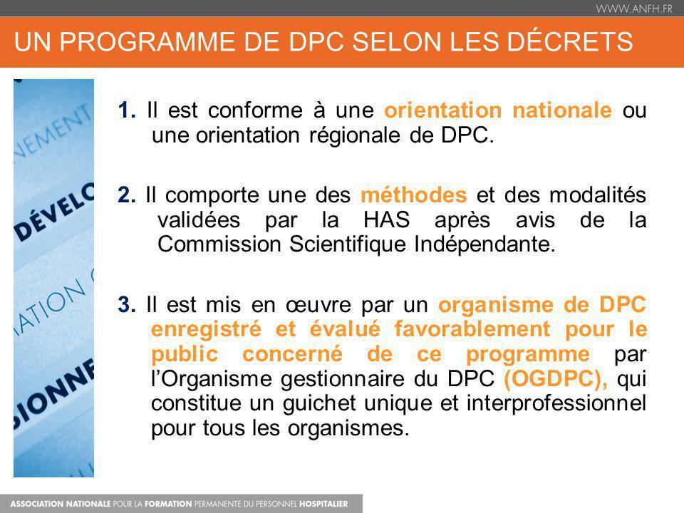 UN PROGRAMME DE DPC SELON LES DÉCRETS DPC FORMATION + APP 1. Il est conforme à une orientation nationale ou une orientation régionale de DPC. 2. Il co