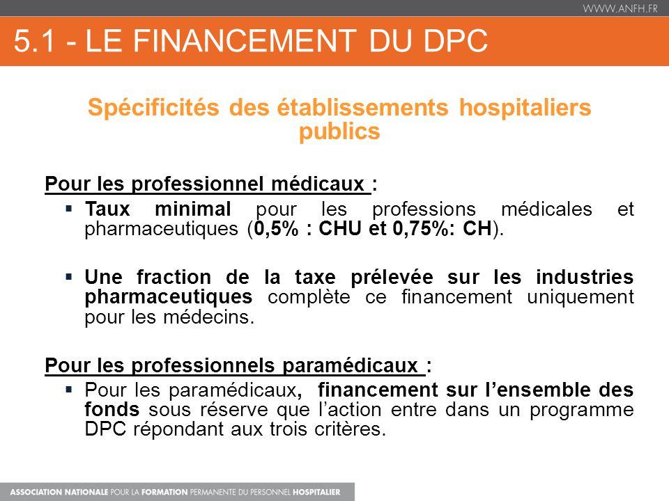 5.1 - LE FINANCEMENT DU DPC Spécificités des établissements hospitaliers publics Pour les professionnel médicaux : Taux minimal pour les professions médicales et pharmaceutiques (0,5% : CHU et 0,75%: CH).