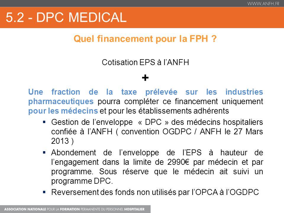 5.2 - DPC MEDICAL Quel financement pour la FPH .