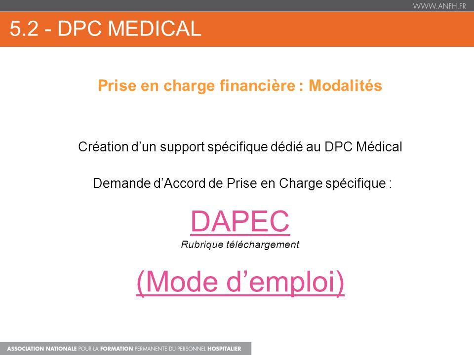 5.2 - DPC MEDICAL Prise en charge financière : Modalités Création dun support spécifique dédié au DPC Médical Demande dAccord de Prise en Charge spécifique : DAPEC Rubrique téléchargement (Mode demploi)