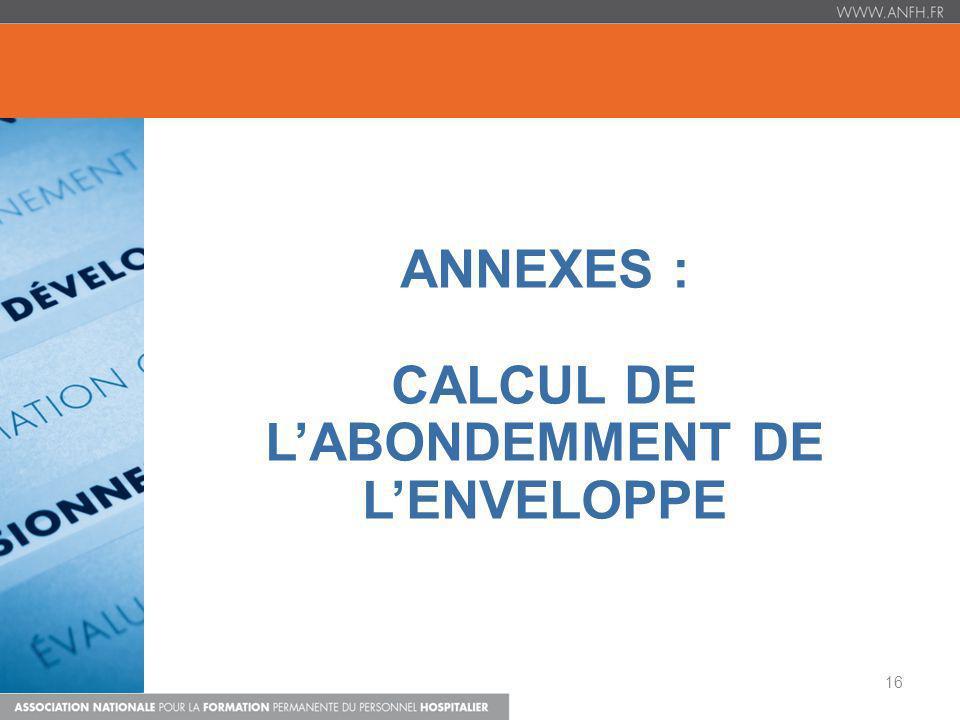 ANNEXES : CALCUL DE LABONDEMMENT DE LENVELOPPE 16