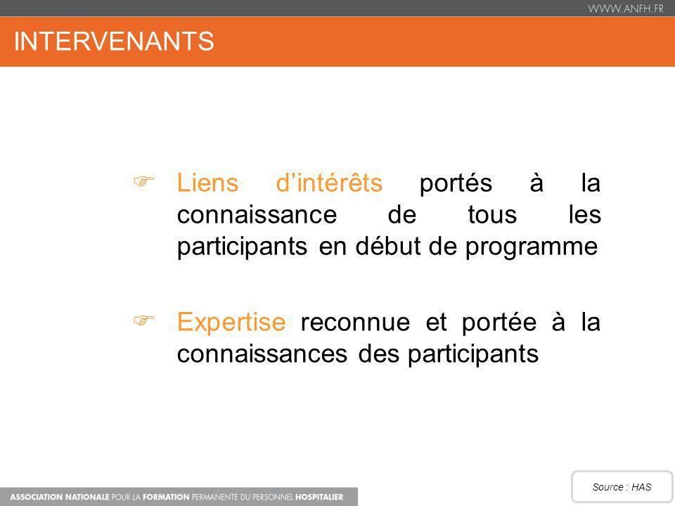 INTERVENANTS Liens dintérêts portés à la connaissance de tous les participants en début de programme Expertise reconnue et portée à la connaissances d