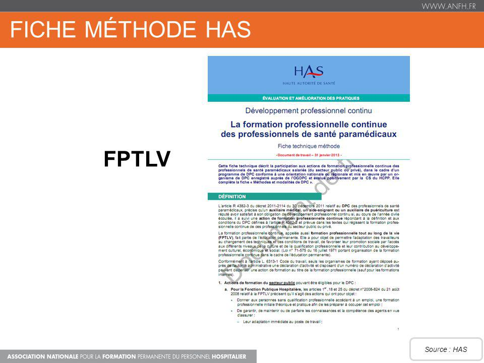 FICHE MÉTHODE HAS FPTLV Source : HAS