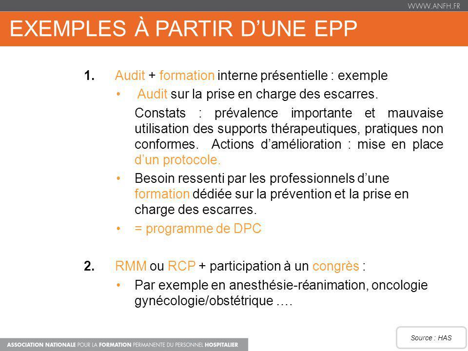 EXEMPLES À PARTIR DUNE EPP 1.Audit + formation interne présentielle : exemple Audit sur la prise en charge des escarres. Constats : prévalence importa