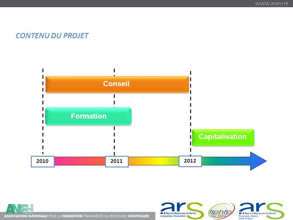 CONTENU DU PROJET 20102011 2012 Formations Formation Capitalisation Conseil