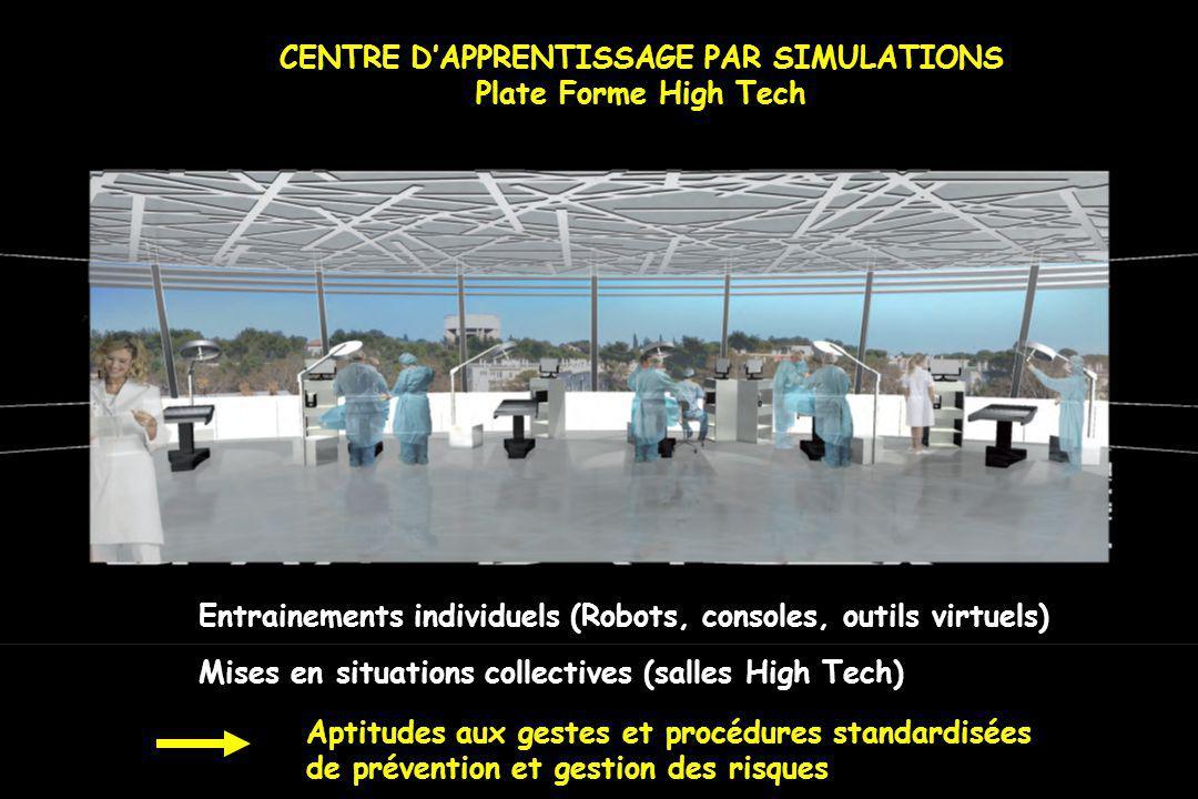 CENTRE DAPPRENTISSAGE PAR SIMULATIONS Plate Forme High Tech Entrainements individuels (Robots, consoles, outils virtuels) Mises en situations collecti