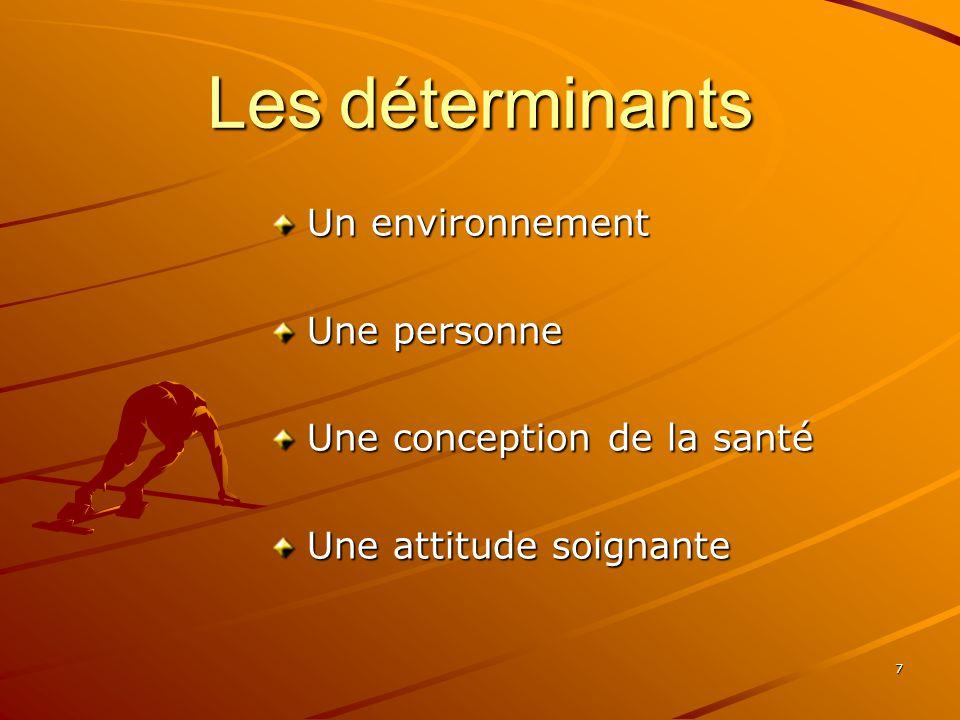 7 Les déterminants Un environnement Une personne Une conception de la santé Une attitude soignante