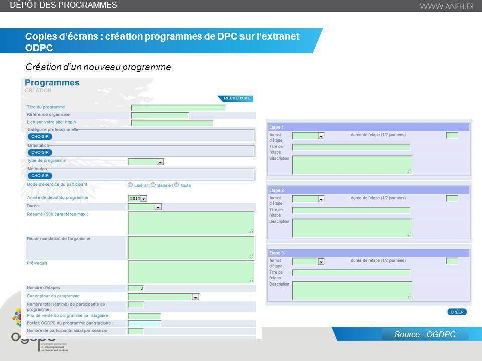 juin 14 – n° 9 Copies décrans : création programmes de DPC sur lextranet ODPC Création dun nouveau programme DÉPÔT DES PROGRAMMES Source : OGDPC