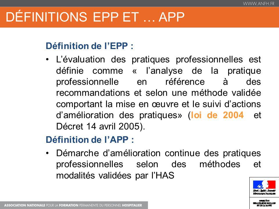 DÉFINITIONS EPP ET … APP DPC FORMATION + APP Définition de lEPP : Lévaluation des pratiques professionnelles est définie comme « lanalyse de la pratiq
