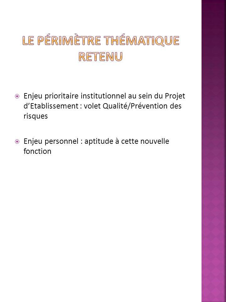 Enjeu prioritaire institutionnel au sein du Projet dEtablissement : volet Qualité/Prévention des risques Enjeu personnel : aptitude à cette nouvelle fonction
