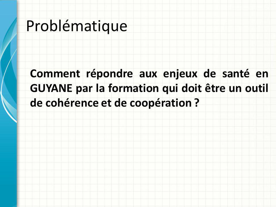 Problématique Comment répondre aux enjeux de santé en GUYANE par la formation qui doit être un outil de cohérence et de coopération