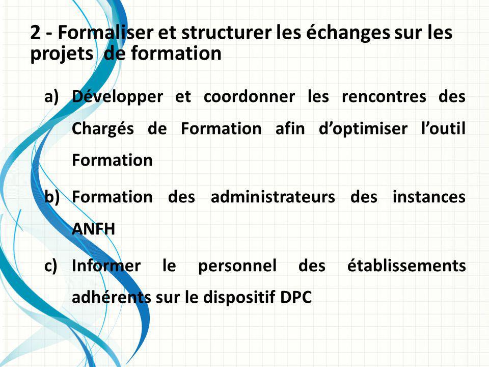 2 - Formaliser et structurer les échanges sur les projets de formation a)Développer et coordonner les rencontres des Chargés de Formation afin doptimiser loutil Formation b)Formation des administrateurs des instances ANFH c)Informer le personnel des établissements adhérents sur le dispositif DPC