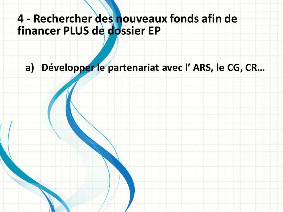 4 - Rechercher des nouveaux fonds afin de financer PLUS de dossier EP a)Développer le partenariat avec l ARS, le CG, CR…