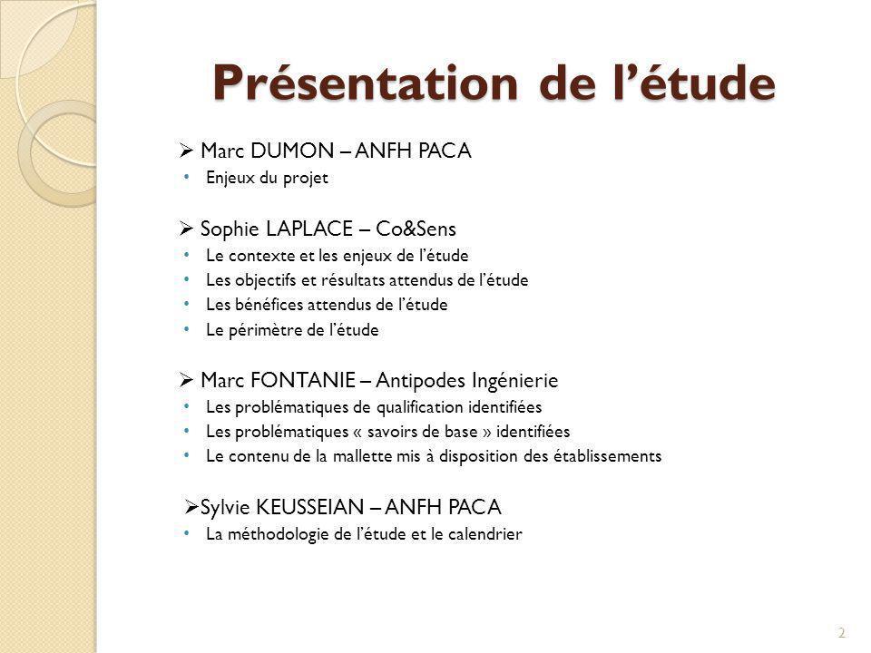 Présentation de létude Marc DUMON – ANFH PACA Enjeux du projet Sophie LAPLACE – Co&Sens Le contexte et les enjeux de létude Les objectifs et résultats