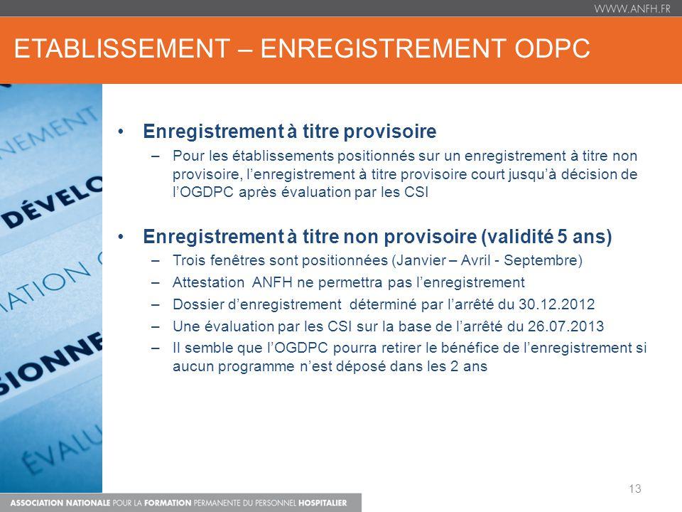 ETABLISSEMENT – ENREGISTREMENT ODPC Enregistrement à titre provisoire –Pour les établissements positionnés sur un enregistrement à titre non provisoir