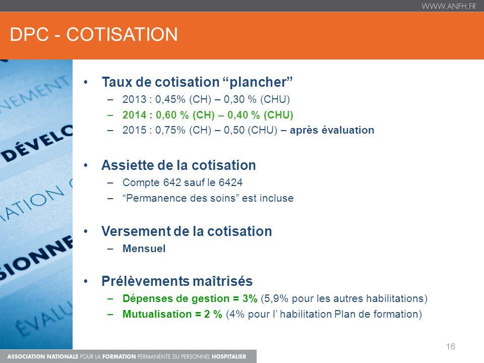 DPC - COTISATION Taux de cotisation plancher –2013 : 0,45% (CH) – 0,30 % (CHU) –2014 : 0,60 % (CH) – 0,40 % (CHU) –2015 : 0,75% (CH) – 0,50 (CHU) – ap