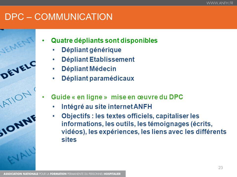 DPC – COMMUNICATION Quatre dépliants sont disponibles Dépliant générique Dépliant Etablissement Dépliant Médecin Dépliant paramédicaux Guide « en lign