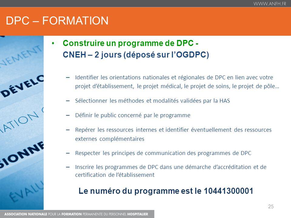 DPC – FORMATION Construire un programme de DPC - CNEH – 2 jours (déposé sur lOGDPC) – Identifier les orientations nationales et régionales de DPC en l