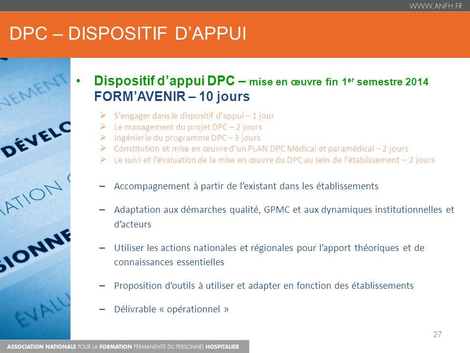 DPC – DISPOSITIF DAPPUI Dispositif dappui DPC – mise en œuvre fin 1 er semestre 2014 FORMAVENIR – 10 jours Sengager dans le dispositif dappui – 1 jour