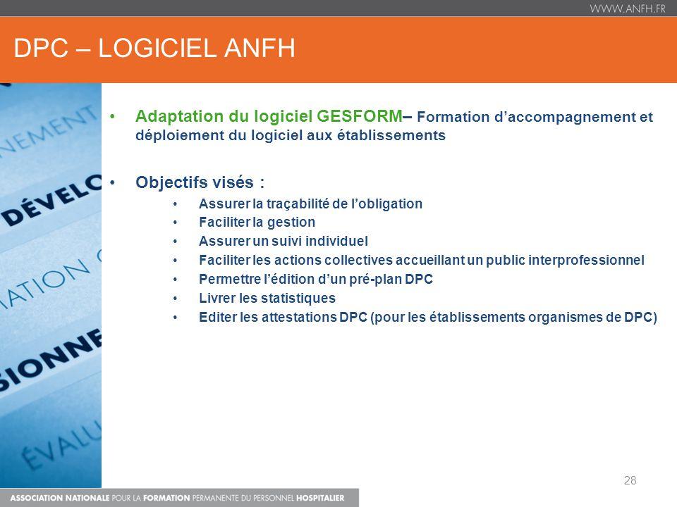 DPC – LOGICIEL ANFH Adaptation du logiciel GESFORM– Formation daccompagnement et déploiement du logiciel aux établissements Objectifs visés : Assurer