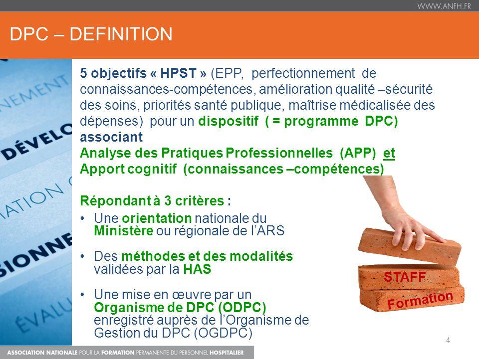 DPC – DEFINITION Une orientation nationale du Ministère ou régionale de lARS Des méthodes et des modalités validées par la HAS Une mise en œuvre par u