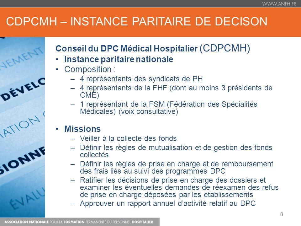 CDPCMH – INSTANCE PARITAIRE DE DECISON 8 Conseil du DPC Médical Hospitalier (CDPCMH) Instance paritaire nationale Composition : –4 représentants des s