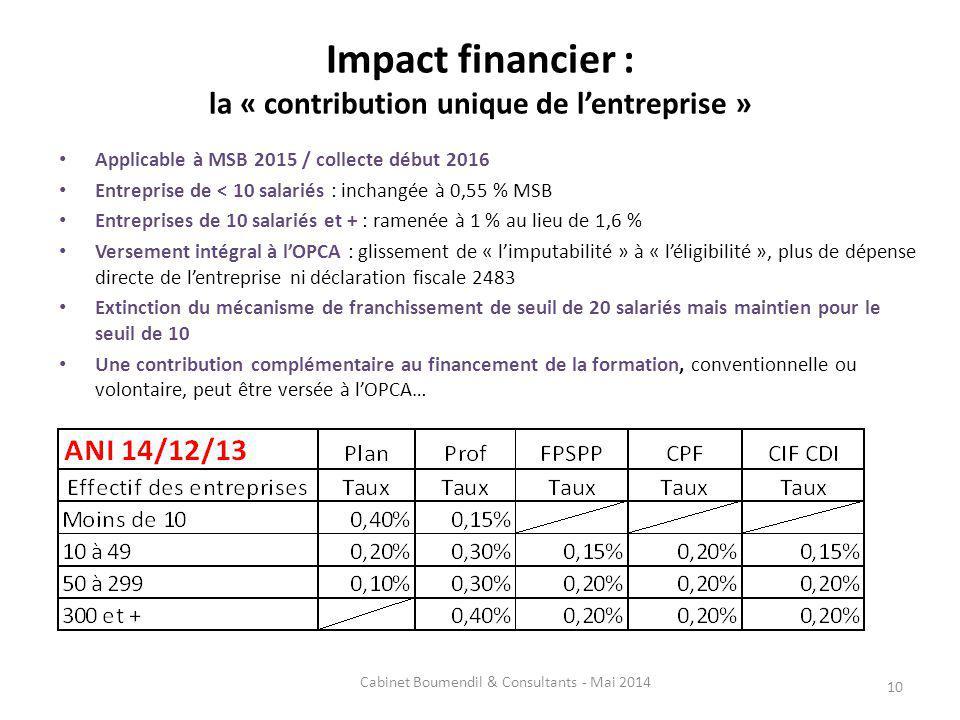 Impact financier : la « contribution unique de lentreprise » Applicable à MSB 2015 / collecte début 2016 Entreprise de < 10 salariés : inchangée à 0,55 % MSB Entreprises de 10 salariés et + : ramenée à 1 % au lieu de 1,6 % Versement intégral à lOPCA : glissement de « limputabilité » à « léligibilité », plus de dépense directe de lentreprise ni déclaration fiscale 2483 Extinction du mécanisme de franchissement de seuil de 20 salariés mais maintien pour le seuil de 10 Une contribution complémentaire au financement de la formation, conventionnelle ou volontaire, peut être versée à lOPCA… 10 Cabinet Boumendil & Consultants - Mai 2014