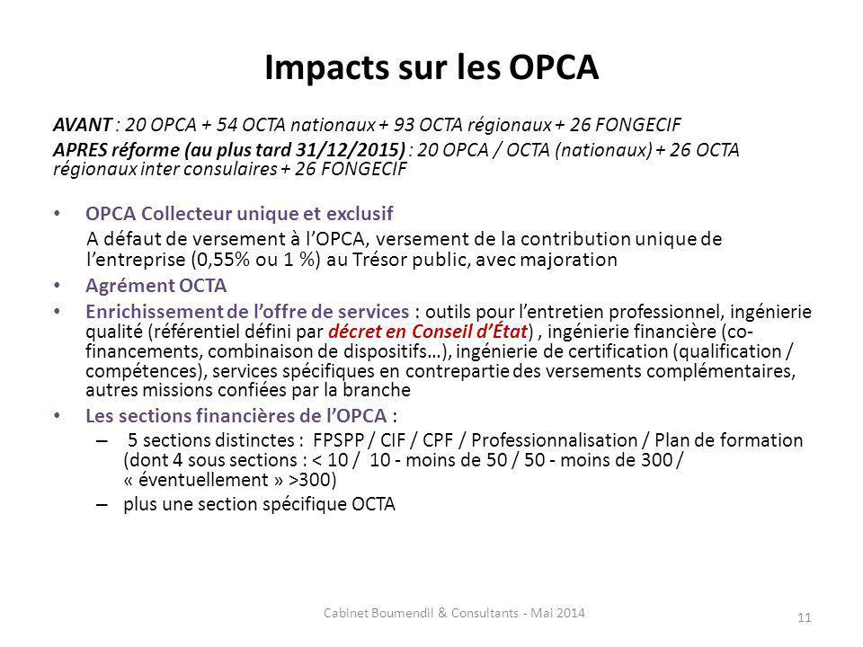 Impacts sur les OPCA AVANT : 20 OPCA + 54 OCTA nationaux + 93 OCTA régionaux + 26 FONGECIF APRES réforme (au plus tard 31/12/2015) : 20 OPCA / OCTA (nationaux) + 26 OCTA régionaux inter consulaires + 26 FONGECIF OPCA Collecteur unique et exclusif A défaut de versement à lOPCA, versement de la contribution unique de lentreprise (0,55% ou 1 %) au Trésor public, avec majoration Agrément OCTA Enrichissement de loffre de services : outils pour lentretien professionnel, ingénierie qualité (référentiel défini par décret en Conseil dÉtat), ingénierie financière (co- financements, combinaison de dispositifs…), ingénierie de certification (qualification / compétences), services spécifiques en contrepartie des versements complémentaires, autres missions confiées par la branche Les sections financières de lOPCA : – 5 sections distinctes : FPSPP / CIF / CPF / Professionnalisation / Plan de formation (dont 4 sous sections : 300) – plus une section spécifique OCTA 11 Cabinet Boumendil & Consultants - Mai 2014