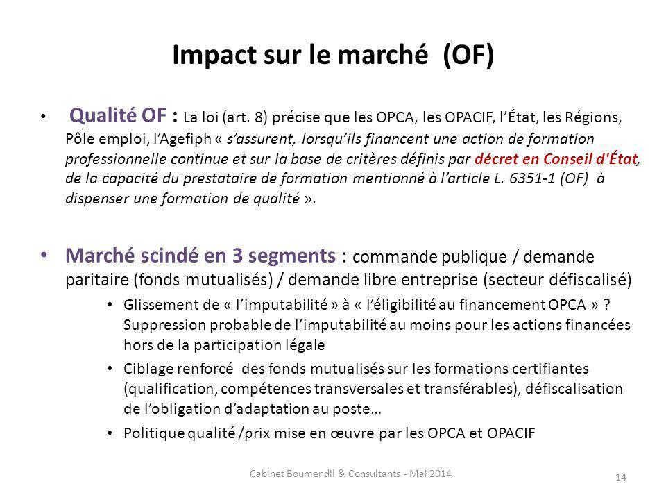 Impact sur le marché (OF) Qualité OF : La loi (art. 8) précise que les OPCA, les OPACIF, lÉtat, les Régions, Pôle emploi, lAgefiph « sassurent, lorsqu