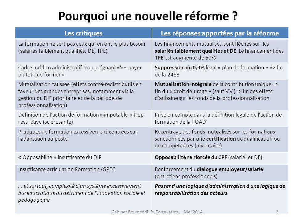 Pourquoi une nouvelle réforme ? Les critiquesLes réponses apportées par la réforme La formation ne sert pas ceux qui en ont le plus besoin (salariés f