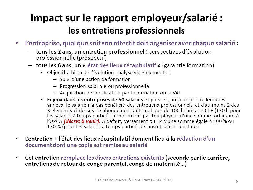 Impact sur le rapport employeur/salarié : les entretiens professionnels Lentreprise, quel que soit son effectif doit organiser avec chaque salarié : –