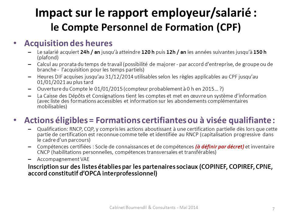 Impact sur le rapport employeur/salarié : le Compte Personnel de Formation (CPF) Acquisition des heures – Le salarié acquiert 24h / an jusquà atteindr