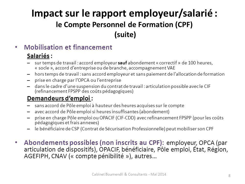 Impact sur le rapport employeur/salarié : le Compte Personnel de Formation (CPF) (suite) Mobilisation et financement Salariés : – sur temps de travail
