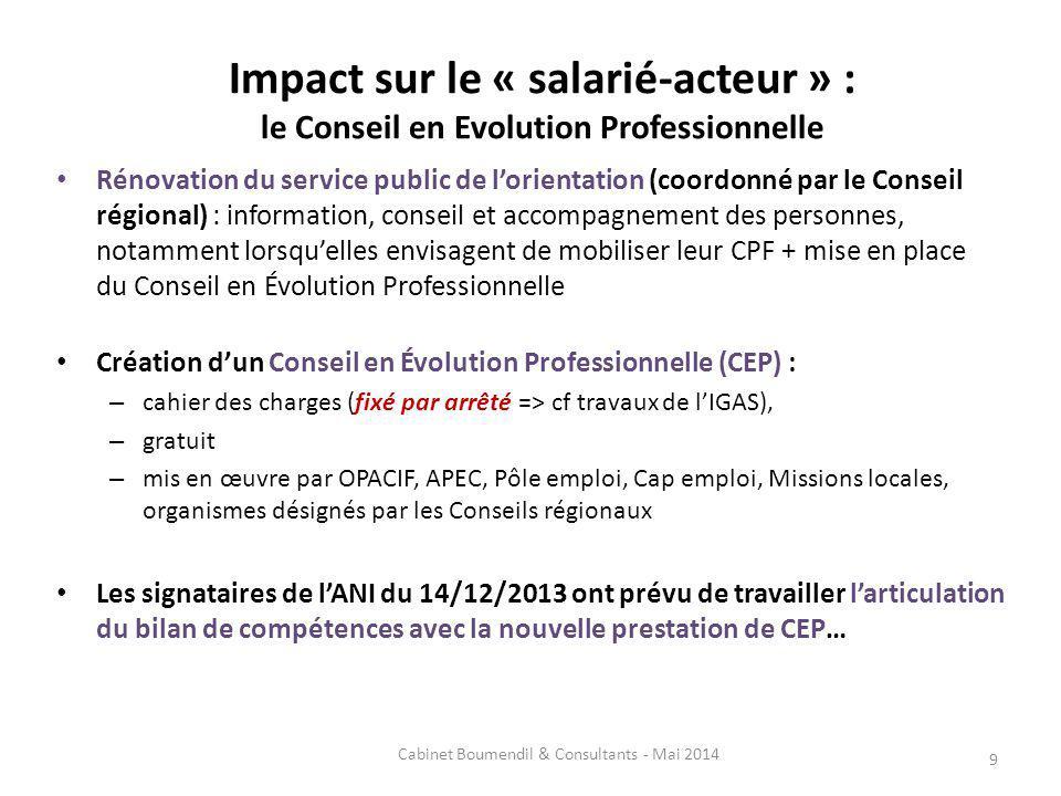Impact sur le « salarié-acteur » : le Conseil en Evolution Professionnelle Rénovation du service public de lorientation (coordonné par le Conseil régi
