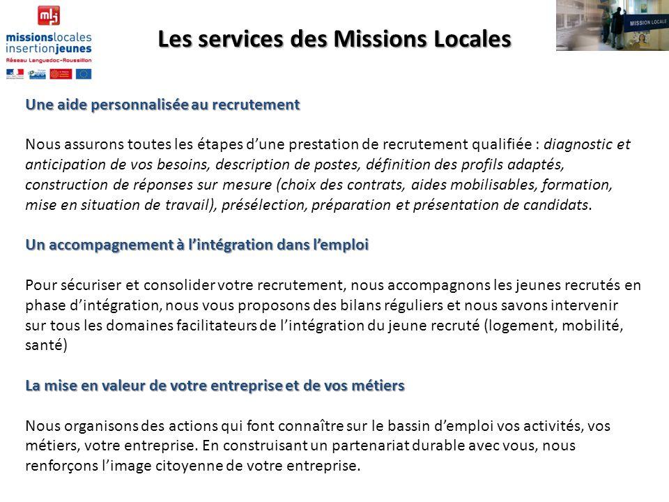 Les services des Missions Locales Une aide personnalisée au recrutement Nous assurons toutes les étapes dune prestation de recrutement qualifiée : dia
